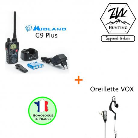 Pack Midland G9 Plus et Oreillette/Micro souple classique