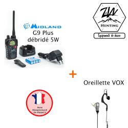 Pack Midland G9 Plus débridé 5W et Oreillette/Micro souple VOX